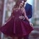 Illusion Neckline Fuchsia Knee Length Long-Sleeve A-Line Beaded Dress
