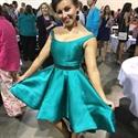 Teal Knee Length Sleeveless Satin Homecoming Dress With Beaded Waist