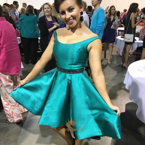 Teal Knee Length Sleeveless Satin Homecoming Dress With Beaded Waist