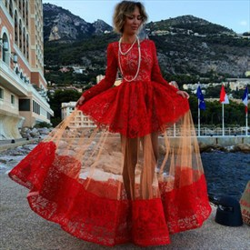 Vintage Red Long Sleeve Floor Length A-Line Lace And Tulle Prom Dress