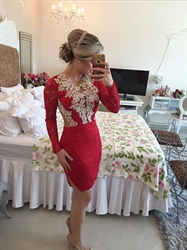 Knee Length Red Long Sleeve Lace Sheath Cocktail Dress With Sheer Back