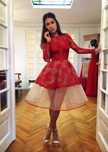 Elegant Red Long Sleeve Lace Organza A-Line Knee Length Cocktail Dress
