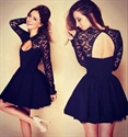 Black Lace Top Long Sleeve A-Line Short Homecoming Dress With Keyhole