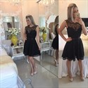 Black Sleeveless Knee Length Lace Homecoming Dress With Keyhole Back