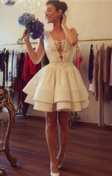 White Sleeveless A-Line Knee Length Satin Homecoming Dress With Lace
