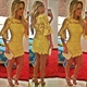 Yellow Half Sleeve Short Lace Bodycon Cocktail Dress With Keyhole Back