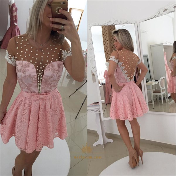 Pink Knee Length A-Line Beaded Neckline Lace Dress With Illusion Back