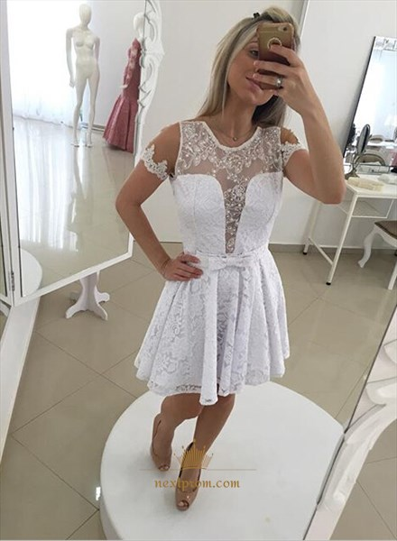 White Illusion Short-Sleeve A Line Short Lace Dress With Sheer Back