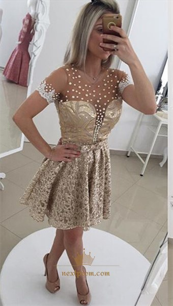 Champagne Illusion Beaded Neckline Knee Length Short Sleeve Lace Dress