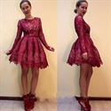 Vintage Burgundy Long Sleeve Knee Length A-Line Lace Homecoming Dress