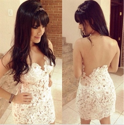 White Sleeveless Short Lace Sheath Dress With Sheer Neckline And Back