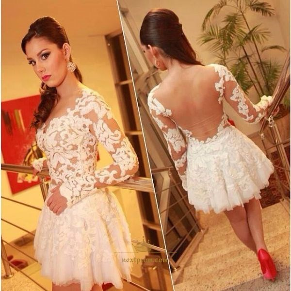 Knee Length A-Line White Long Sleeve Lace Fit And Flare Cocktail Dress