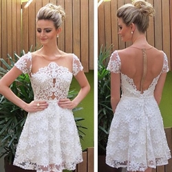 White Knee Length Short Sleeve A-Line Lace Dress With Sheer Neckline