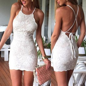 White Short Sleeveless Spaghetti Strap Lace Bodycon Homecoming Dress