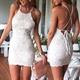 White Short Sleeveless Spaghetti Strap Lace Bodycon Homecoming Dress