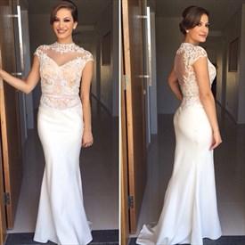 Elegant Sheer Cap Sleeve Lace Bodice Floor Length Mermaid Prom Dress