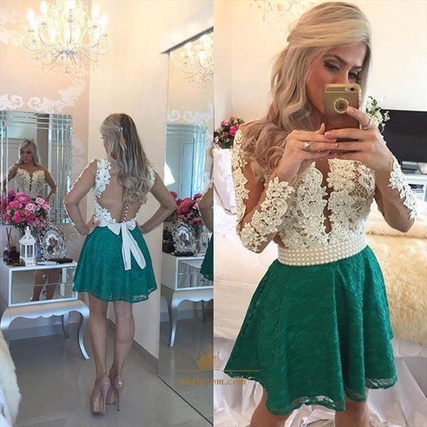 Knee Length Long Sleeve A-Line Lace Cocktail Dress With Beaded Bodice