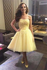 Tea Length Banana Yellow Strapless Lace And Tulle Homecoming Dress