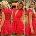 Beautiful Deep V Neck Cap Sleeve A-Line Short Red Lace Cocktail Dress
