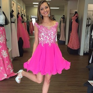Hot Pink Knee Length Lace Beaded Bodice Chiffon Skirt Homecoming Dress