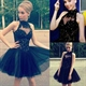 Black Halter A-Line Tulle Short Homecoming Dress With Sheer Neckline