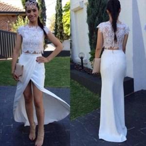 Two Piece White Cap Sleeve Long Chiffon Mermaid Prom Dress With Slit