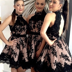 A-Line Black Halter Knee Length Bridesmaid Dress With Lace Embellished