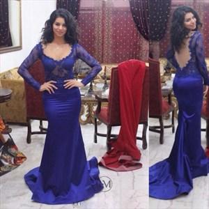 Royal Blue Long Sleeve Lace Bodice Floor Length Mermaid Evening Gown