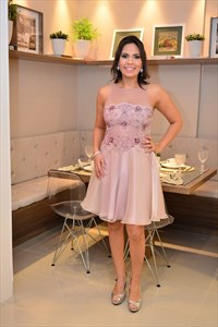Knee Length Sleeveless Lace Bodice A-Line Dress With Sheer Neckline