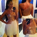 Knee Length One Shoulder A-Line White Chiffon Dress With Sequin Bodice