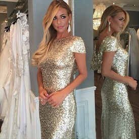 Floor Length Sequin Embellished Mermaid Evening Gown With Short Sleeve