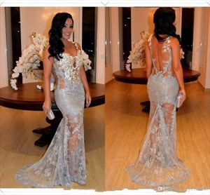 Sleeveless Sheer Embellished Mermaid Evening Gown With Lace Overlay