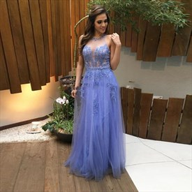 Sleeveless Floor Length Tulle Evening Dress With Lace Applique Bodice