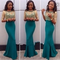 Elegant Half Sleeve Floor Length Mermaid Evening Gown With Lace Top