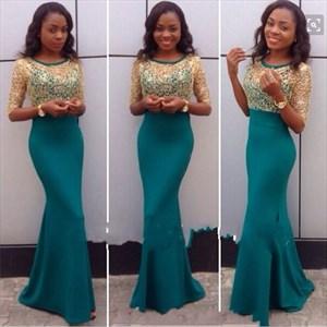 Elegant Half Sleeve Floor Length Mermaid Evening Gown With Lace Top
