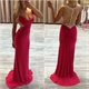Red Sleeveless V-Neck Long Mermaid Evening Gown With Sheer Beaded Back
