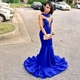 Royal Blue Sleeveless Sheer Neckline Drop Waist Mermaid Evening Dress