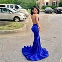 Royal Blue Sleeveless Sheer Neckline Drop Waist Mermaid Evening Dress