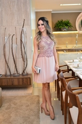 Elegant Sleeveless A Line Knee Length Chiffon Dress With Lace Bodice