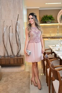 Elegant Sleeveless A Line Knee Length Chiffon Dress With Lace Bodice