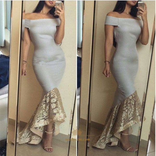 Off The Shoulder Drop Waist Sheath Mermaid Satin Prom Dress With Lace