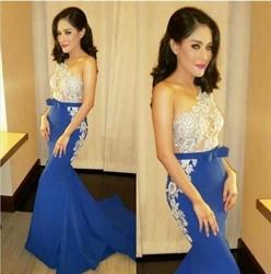 Elegant One Shoulder Lace Embellished Floor Length Mermaid Prom Dress