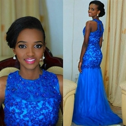 Sleeveless Royal Blue Lace Beaded Bodice Drop Waist Mermaid Prom Dress