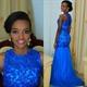 Sleeveless Royal Blue Lace Beaded Bodice Drop Waist Mermaid Prom Dress