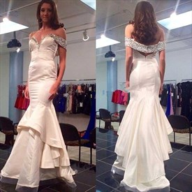 White Off The Shoulder Ruffle Mermaid Long Prom Dress With Beaded Top