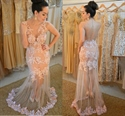 Elegant Lace Applique Floor Length Sheer Sleeveless Mermaid Prom Gown