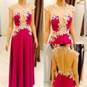 Floor Length Fuchsia Cap Sleeve Applique Prom Dress With Sheer Back