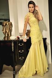 One Shoulder Long Sleeve Lace Bodice Drop Waist Mermaid Evening Dress