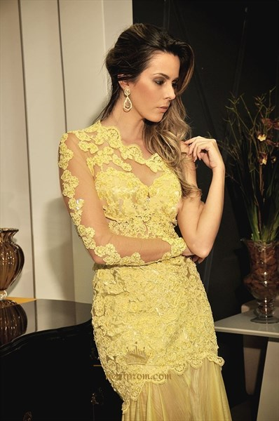 One Shoulder Long Sleeve Lace Bodice Drop Waist Mermaid Evening Dress