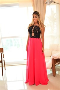 Two Tone Elegant Sleeveless A-Line Lace Bodice Chiffon Evening Gown